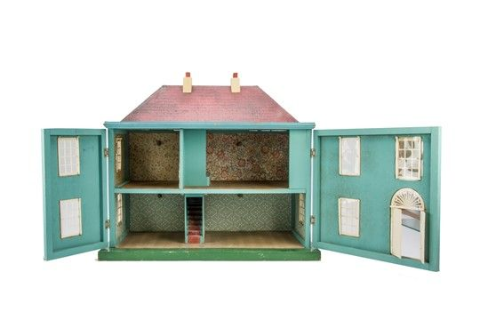 A Tri-ang blue painted Wooden Queen Anne Dolls' House, with white plastic windows and doors, si