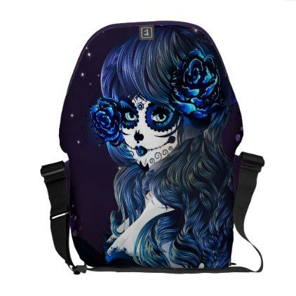 Day of the Dead Mexican Sugar Skull Girl Blue Courier Bag - rose style gifts diy customize special roses flowers