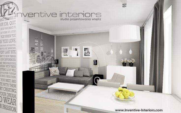 Projekt salonu Inventive Interiors - szary nowoczesny pokój dzienny z aneksem