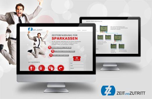 ZeitundZutritt Landingpage  Für eine besondere Möglichkeit der Zeiterfassung für Sparkassen haben wir eine spezielle Landingpage entwickelt, die neben der Funktionsweise und der besonderen Vorteile auch eine beispielhafte Menüführung anzeigt.