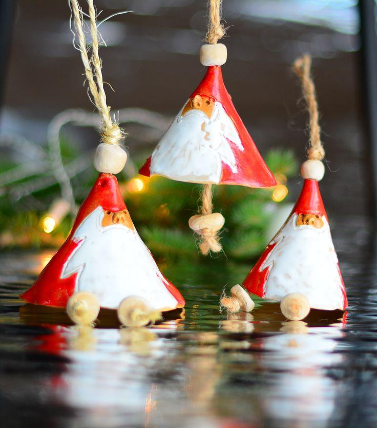 Santa Claus Christmas ornament , ceramic Santa Claus chime, Christmas tree bell, Christmas gift for her, Christmas gift for him. by GOceramics on Etsy