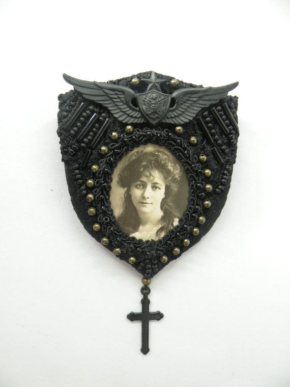 Victorian style Portrait Brooch, beaded, black cross, memento mori, crest - TATIANA via Etsy