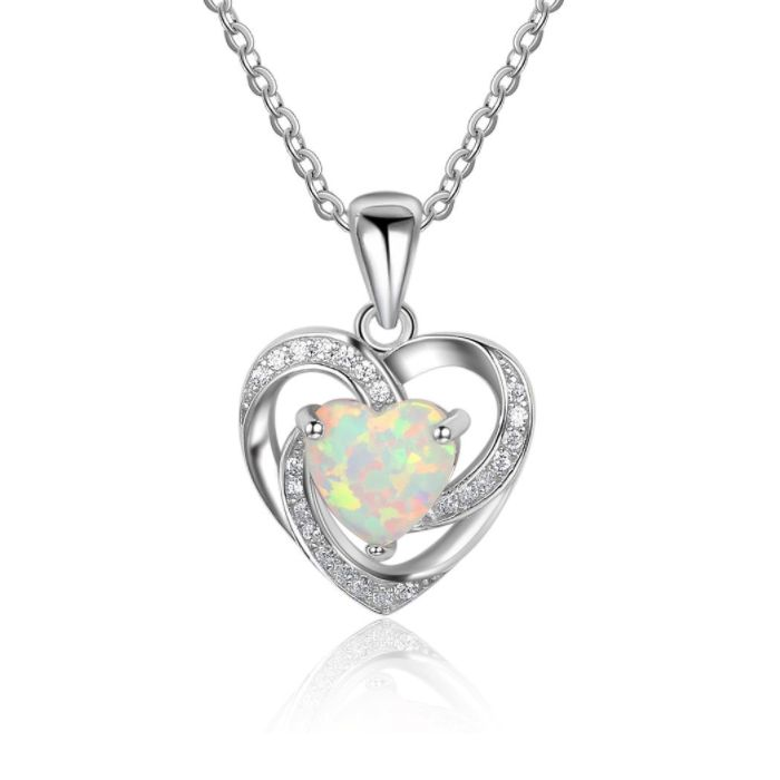 Post Included Aus Wide and to most international countries! >>> Swirling Heart White Opal Necklace - 925 Sterling Silver