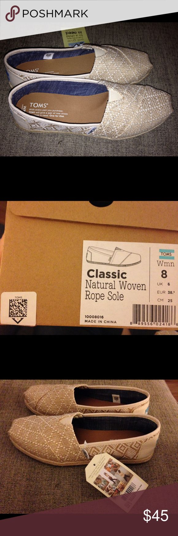 New!! TOMS classic natural woven rope sole sz 8 Beige and white with rope sole. New, never worn!! TOMS Shoes Flats & Loafers