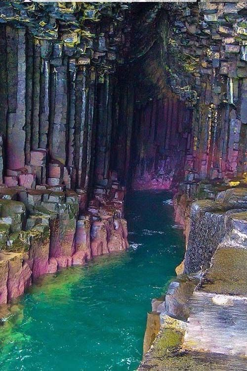 Fingal's Cave, a sea cave on the uninhabited island of Staffa, in the Inner Hebrides of Scotland.