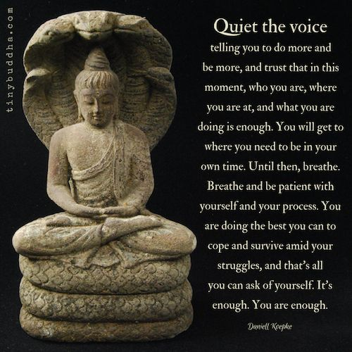 Quiet the voice telling you to do more and be more, and trust that in this moment, who you are, where you are, and what you're doing is enough.