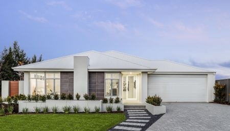 Ultra-modern elevation with rendered pier, feature tiling and  Colorbond roof