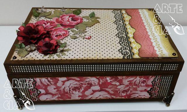 Porta Joia em MDF com técnicas de Scrapbook - Tema: Rosas Arte Cia BH 6