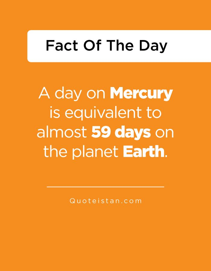A day on Mercury is equivalent to almost 59 days on the planet Earth. http://www.quoteistan.com/2016/08/a-day-on-mercury-is-equivalent-to.html