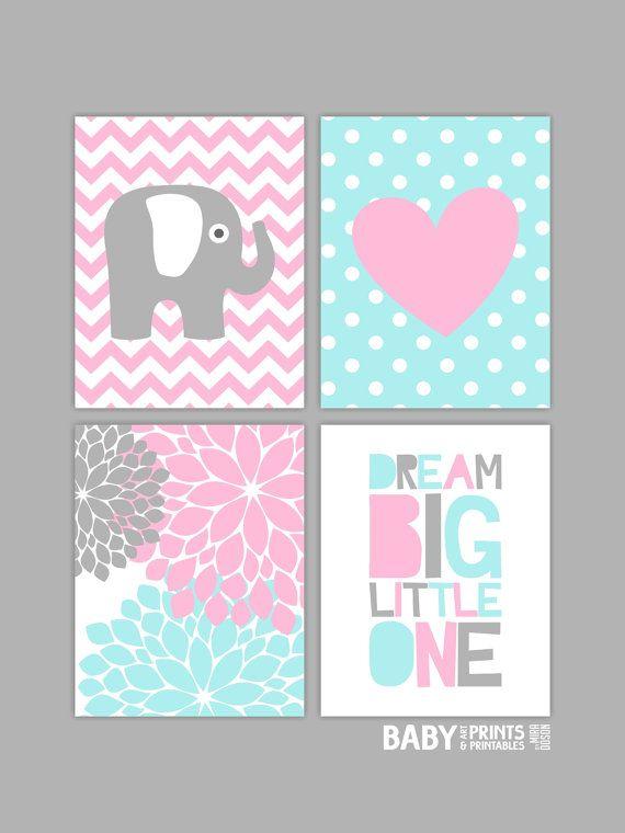 Baby Girl Nursery art prints, Set of 4 11x14. Elephant, Heart, Dream Big Little One