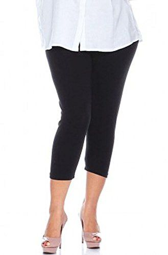 Elegance Womens Extra Plus Size Cropped Elasticated Plain Viscose Leggings 3XL  US 1618  UK 2022 Black -- Click image to review more details.