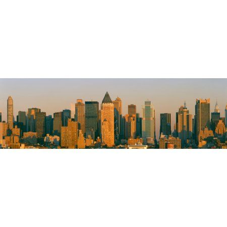 New York Skyline at Sunset from Weehawken New Jersey Canvas Art - Panoramic Images (36 x 12)