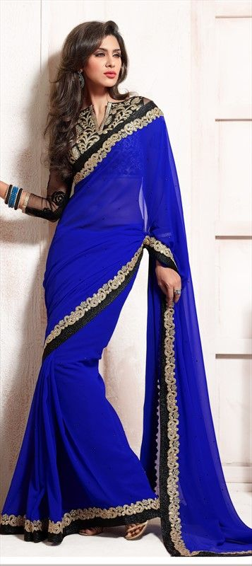 149826, Party Wear Sarees, Embroidered Sarees, Faux Georgette, Bemberg, Stone, Lace, Machine Embroidery, Blue Color Family