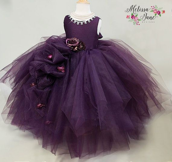 Violet - Couture Flower Girl Dress, Girls Tulle Dress,Girls Plum Dress