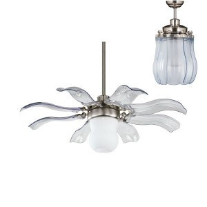 The Fiore ceiling fan is a Vento creation with a unique style that allows it a dual functionality. Fiore is the Italian word for 'flower' and true to its name, the blades open like an intricate flower to reveal a stylish lamp, and retract when not in use.  ❤ This is whisper quiet, perfect in a bedroom, perhaps one of my best home purchases ever. <3