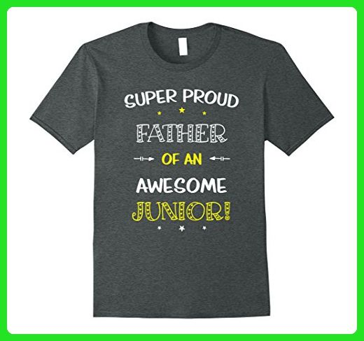 Mens Super Proud Father Of An Awesome Junior Shirt School Medium Dark Heather - Relatives and family shirts (*Amazon Partner-Link)