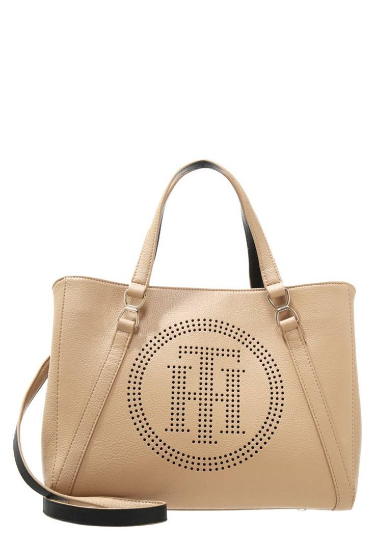 """Tommy Hilfiger. FASHION NOVELTY  - Handbag - beige. Pattern:plain. Fastening:Magnet. length:13.0 """" (Size One Size). width:6.0 """" (Size One Size). carrying handle:5.5 """" (Size One Size). Fabric:Synthetic leather. Outer material:faux leather. height:10...."""