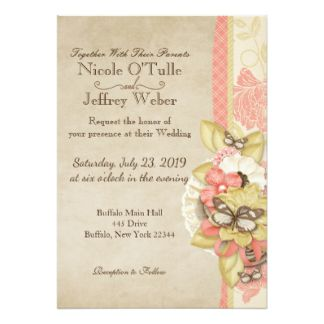Butterfly Summer Shabby Chic Wedding Invitation
