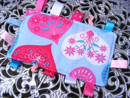Baby & Toddler Tactile Comfort Bankets - Blue with Pink Hearts