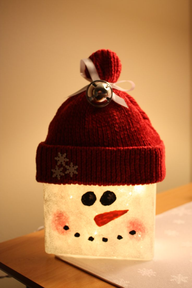 Glass block snowman crafts pinterest crafts glasses for Glass block crafts pictures