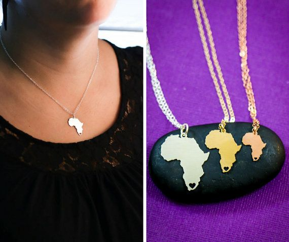 Africa Necklace - Silver Africa Jewelry - Wanderlust - Gold Africa Pendant - South Africa - Hometown - Personalized Jewelry  Africa necklace cutout in Sterling Silver, 14K Gold Filled, or 14K Rose Gold Filled, by IvyByDesign on Etsy. Heart is located in South Africa but can be moved to any place you wish or removed! Just tell me where youd like it placed in the Note to Seller box at checkout.  Add a personal touch with the engraving option! Names, dates, short phrase, coordinates - leave…
