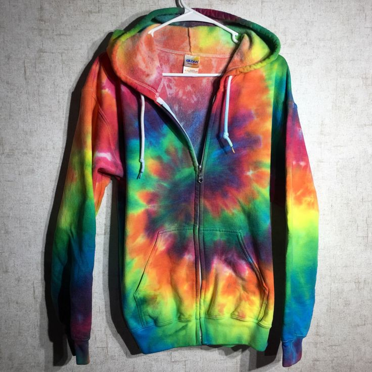 Neon rainbow tie dye zip up hoodie - this one is a size adult medium and is the ONLY ONE AVAILABLE for just $44 at Beach Bum Boutique on Etsy! https://www.etsy.com/listing/480835518/size-medium-tie-dye-hoodie-zip-up-tie
