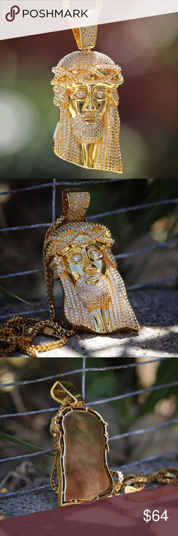Large Size Iced Out Hip Hop Jesus Piece Necklace Large Size Iced Out Hip Hop Jesus Piece Necklace  large size Jesus Piece 3 inches in length.  Chain is 18k Gold plated over 316 stainless.  Comes with a 3mm width 30 inch 316 stainless Franco chain. TSV Jewelers  Accessories Jewelry