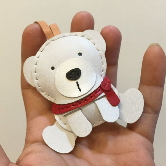 Small size - Julian the Polar Bear cowhide leather charm ( White )