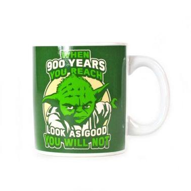 A Star Wars character mug poking fun at Yoda's age and his distinctive face.