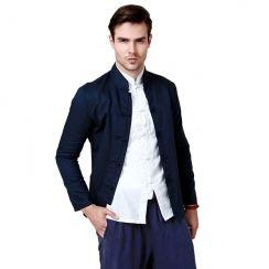 Mandarin Collar Cotton Linen Shirt For Men