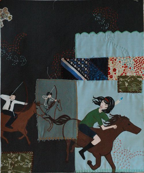 """Caroline Hwang   """"Run as fast as you can, they're shooting to kill""""  Mixed Media  13 1/2"""" x 17"""""""