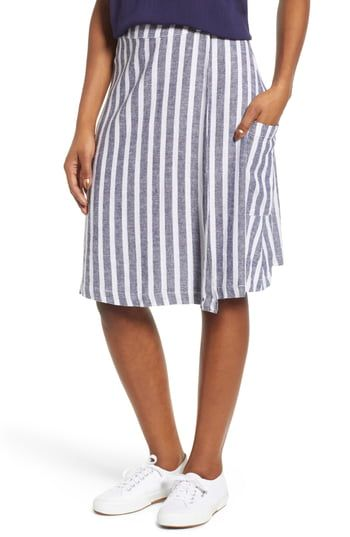5d16f9e387 Caslon® Stripe Linen Blend Wrap Skirt | The Most Stylish Skirts To ...