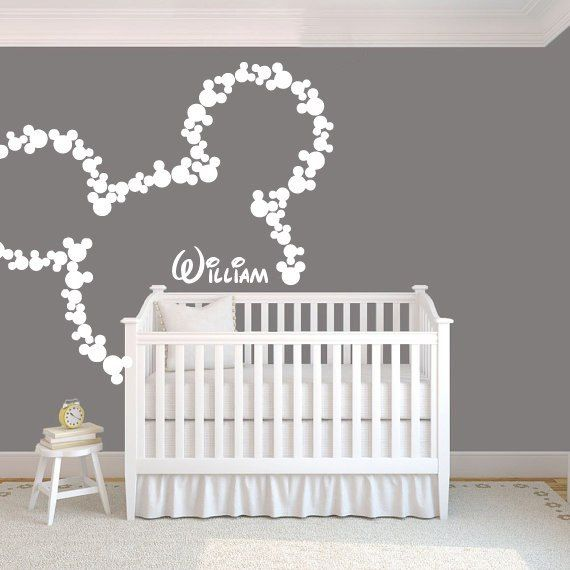 Wall Decal Vinyl Sticker Decals Art Decor Design Disney Custom Baby Name Head Mice Ears Mickey Mouse Letter Gift Kids Children Nursery(r240) on Etsy, $28.99