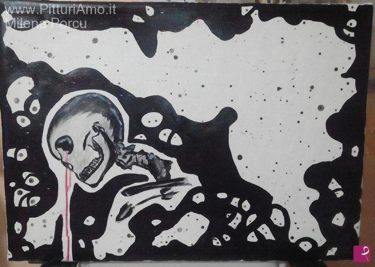 """Teschio che piange sangue"" 50x70 - 2015"
