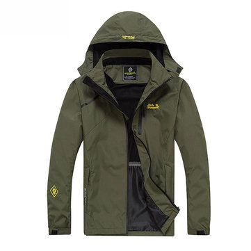 Mens Outdoor Climbing Breathable Water Resistant Thin Detachable Hood Jackets
