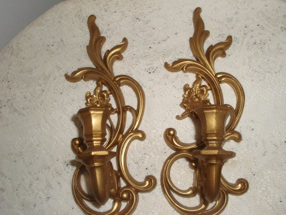 Gold Syrocco Candle wall sconces Pair of by SocialmarysTreasures