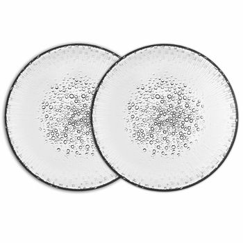 Iittala Ultima Thule Anniversary Dinner Plates (Set of 2) | 2015 marks the 100th anniversary since Tapio Wirkkala's birth, and this set of two dewdrop-kissed plates is the perfect commemoration and celebration of his life and works.