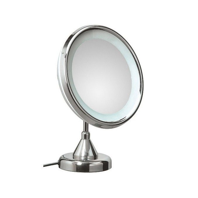 Elegant Modern High End Luxurious Free Standing Plug In Lighted 3x Magnifying Bathroom Mirror