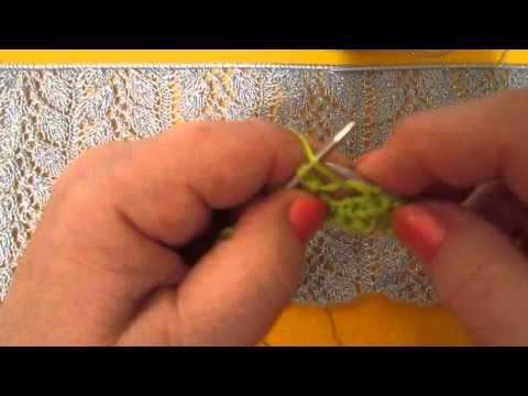 Узор Листочки на сетке спицами - YouTube
