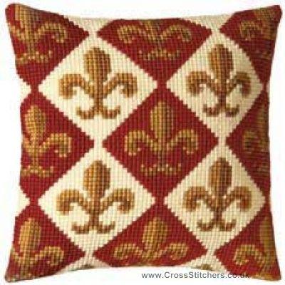 Fleur de Lis Geometric Cushion Front Cross Stitch Kit by Vervaco