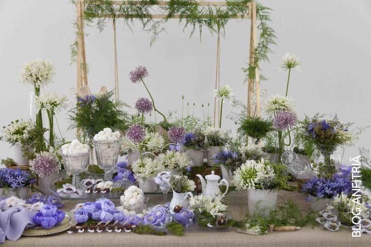 Chá de cozinha, bridal shower, decoração mesa do bolo em tons de lilás, roxo e branco, com agapanthus e flor de alho
