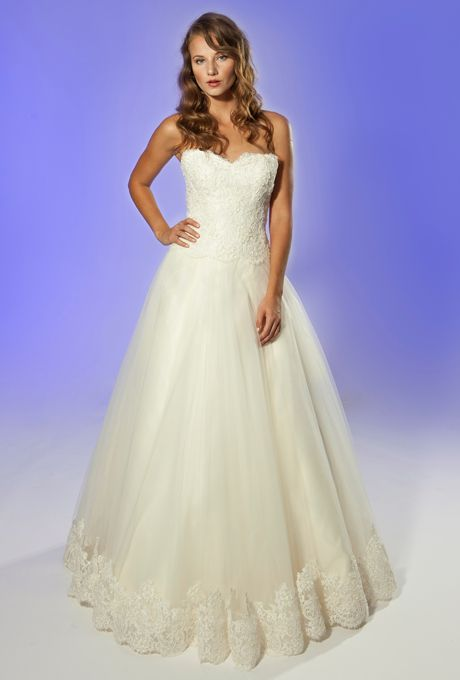 """Brides.com: Junko Yoshioka - Fall/Winter 2013. """"Amour"""" strapless lace and organza A-line wedding dress with a sweetheart neckline and lace details at the hemline, Junko Yoshioka  See more Junko Yoshioka wedding dresses in our gallery."""