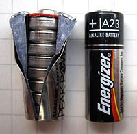 A23 battery contains 8 LR932 cell batteries inside