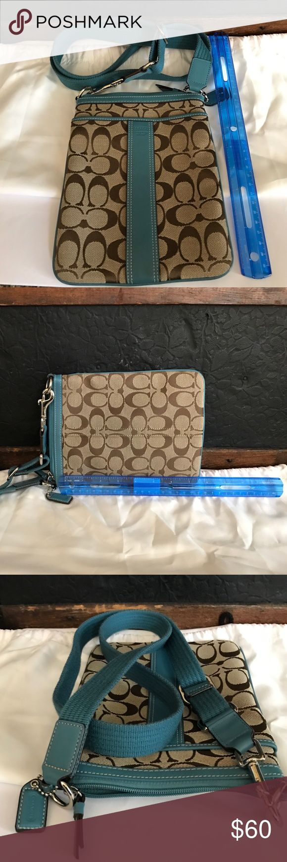 💯 Authentic Coach Swingpack in Signature Fabric This is a 💯 Authentic Coach Crossbody Swingpack in Signature Fabric. Never used, received as a gift. In pristine condition, with an approximate 43in long strap (when unhooked and laid flat.) I've included a 12in ruler in the pictures to show measurements. Thank you! Coach Bags Crossbody Bags
