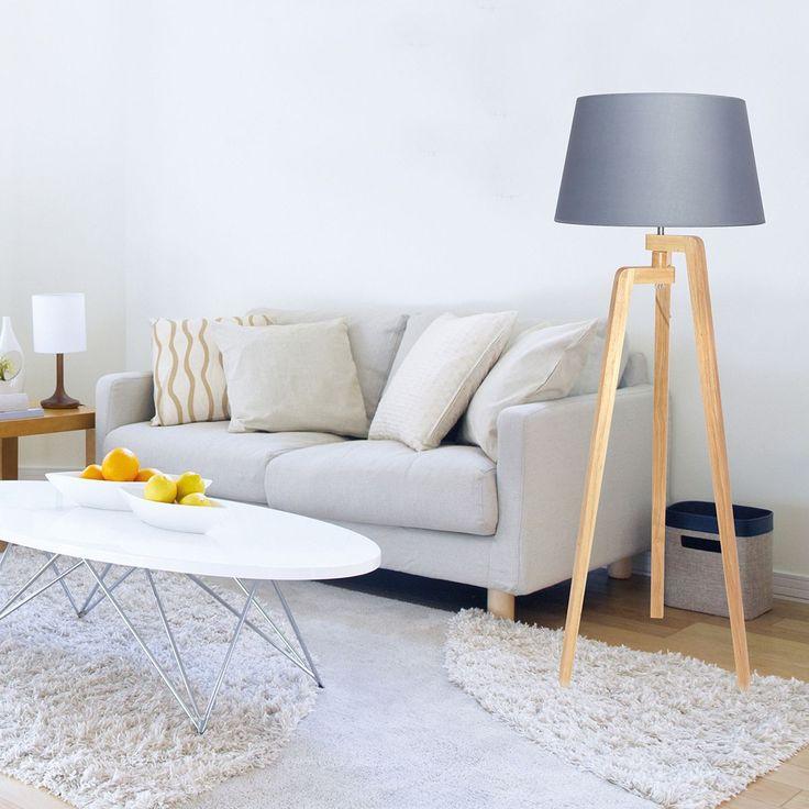 salon scandinave lampadaire en bois couleurs douces tons de beige multitude de coussins. Black Bedroom Furniture Sets. Home Design Ideas