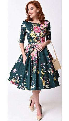 Vintage Deep Green Seville Floral Half Sleeve Hepburn Swing Dress FOR DAPPER DAY