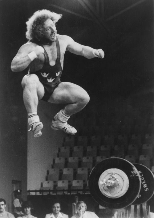 Lennart Dahlgren of Sweden celebrates his first place in the Olympic weightlifting competition, Montreal, 1976 - via reddit [[MORE]] Original caption: Lennart Dahlgren (Sweden) celebrates his first place in the Olympic weightlifting competition - Ernest Schworck / United Press International