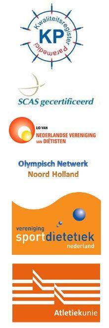Omdat ik kwaliteit, kennis- en beroepsontwikkeling belangrijk vind voor mijzelf en zeker ook voor mijn clienten ben ik aangesloten bij: Kwaliteitsregister Paramedici, Nederlandse Vereniging voor Diëtisten, Vereniging Sportdietetiek Nederland, Atletiekunie (trainerslicentie), Olympisch Netwerk Noord Holland en SCAS.