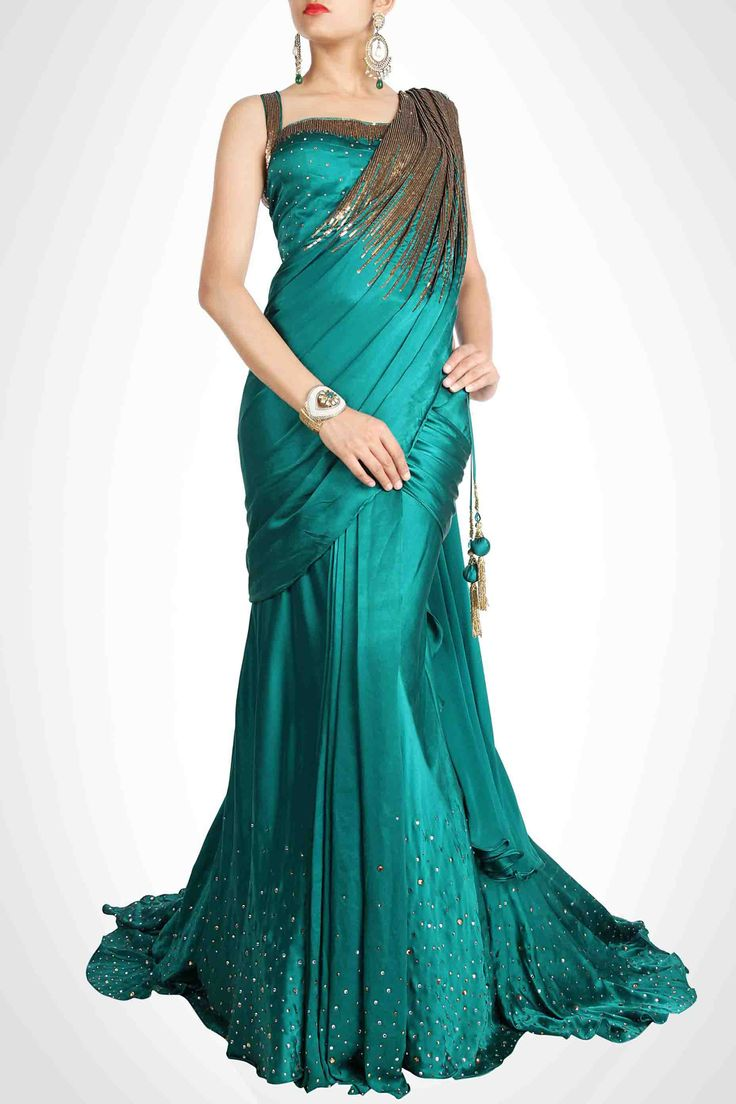 Teal Green Lehenga Sari with Beautiful Corset Blouse
