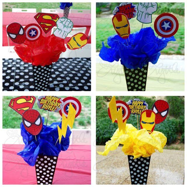 he{ART} Lyttle: Superhero party DIY centerpieces - Visit to grab an amazing super hero shirt now on sale!
